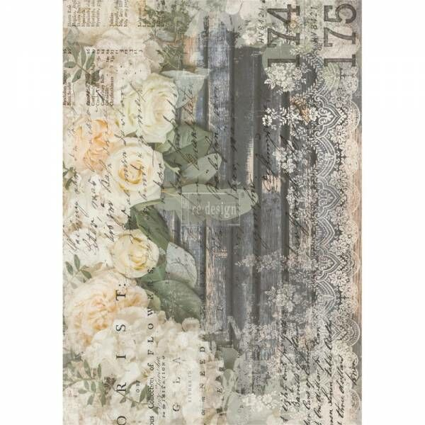 ReDesign Transferfolie White Fleur Shabby World Rub on